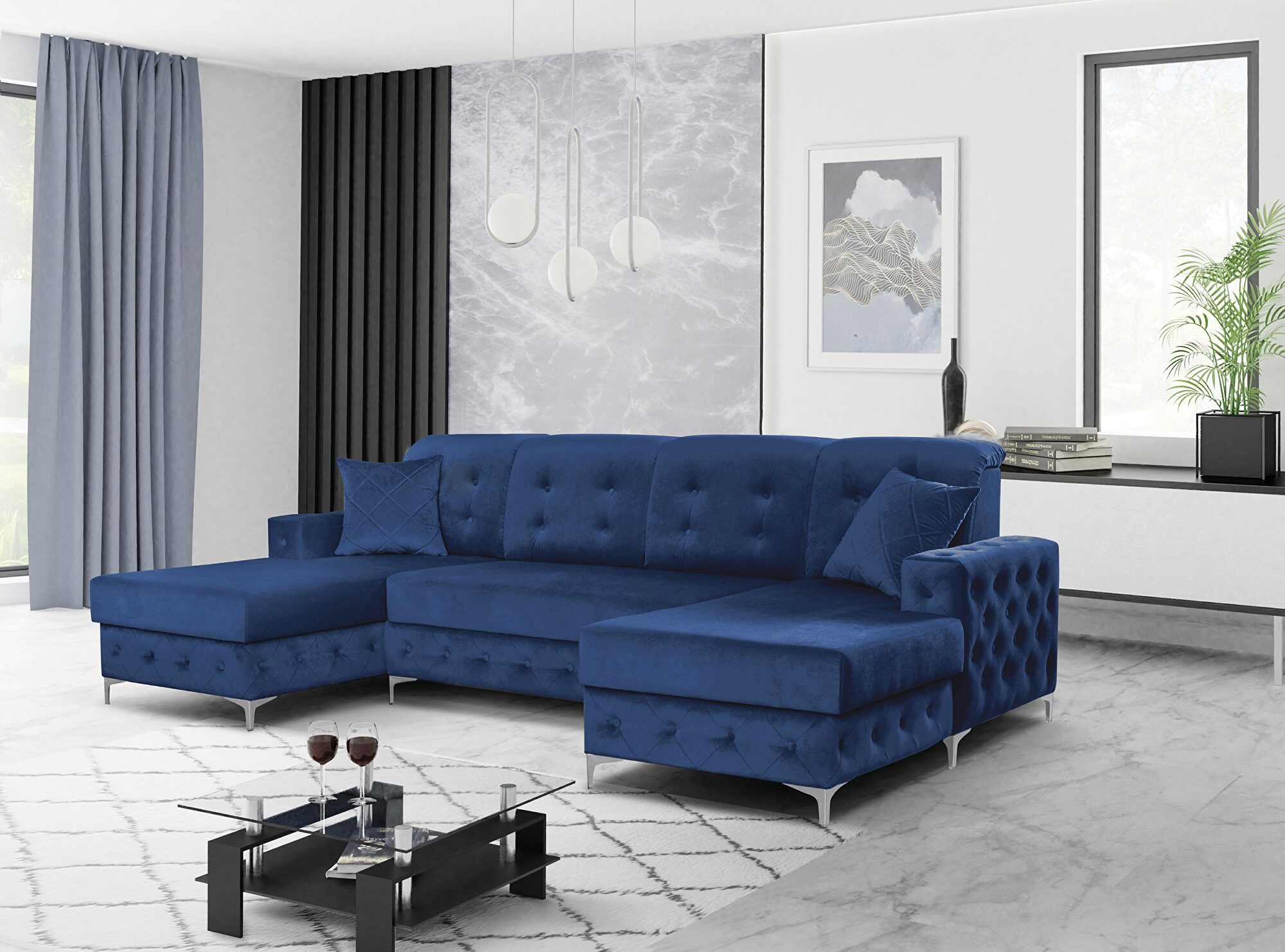 Verso Blue Sectional Sofa Skyler
