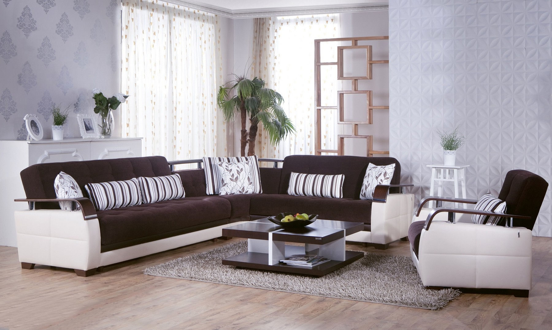 Natural Colins Brown Sectional + Chair