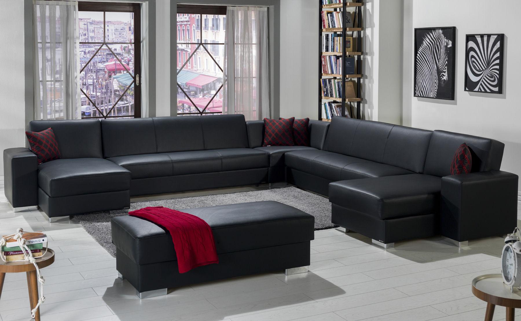 Picture of: Kobe Iii Black Sectional Sofa Kobe 5pcs 2 Istikbal Sectional Sofas Comfyco Furniture